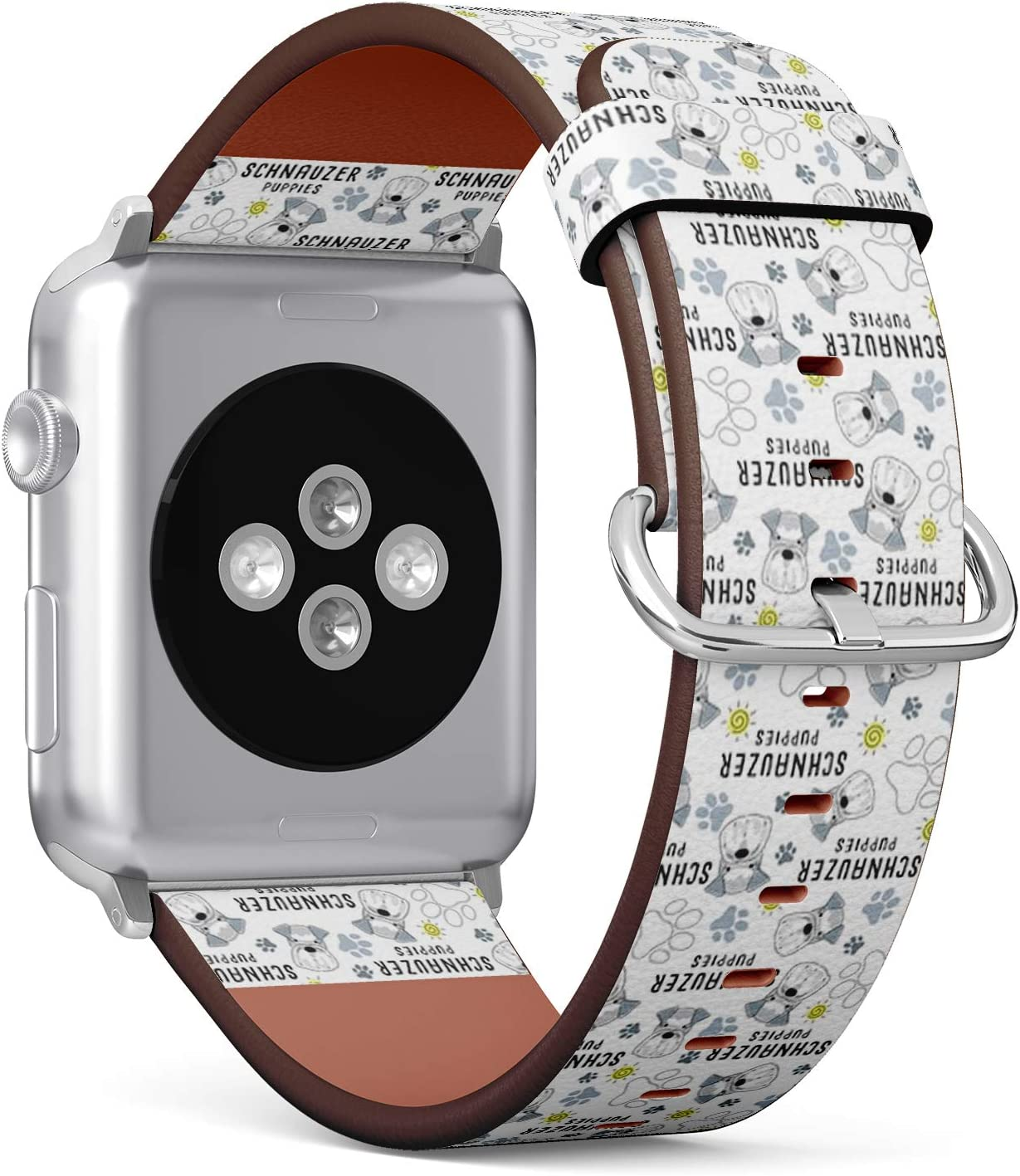 Compatible with Small Apple Watch 38mm & 40mm (All Series) Leather Watch Wrist Band Strap Bracelet with Stainless Steel Clasp and Adapters (Schnauzer Dog Breed)