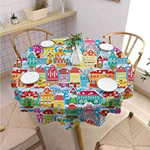 "DILITECK City Outdoor Round Tablecloth Colorful Town Design Ornamental Winter Holiday Christmas Time Architecture Pattern Daily use Diameter 36"" Multicolor"