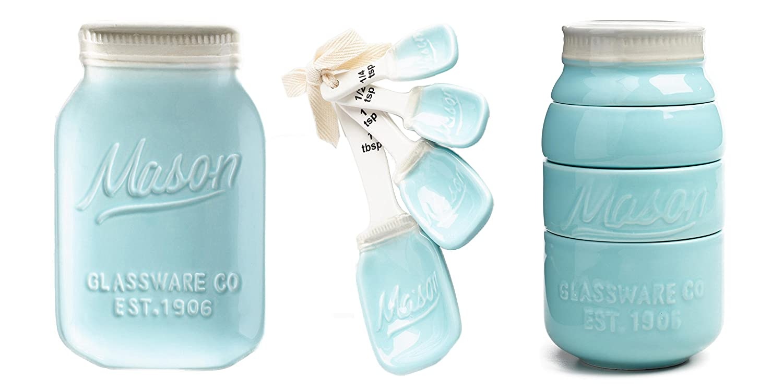 Amazon.com: Mason Jar Ceramic Kitchenware 3 Piece Set: Spoon Rest ...