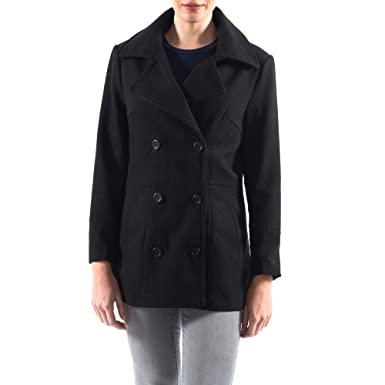 7e0f35e5399 alpine swiss Emma Womens Black Wool 3 4 Length Double Breasted Peacoat Small