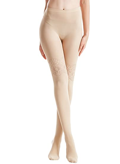 4923de22e Zeraca Women s 80 D Sheer to Waist Pattern Footed Opaque Tights 1 Pack (S