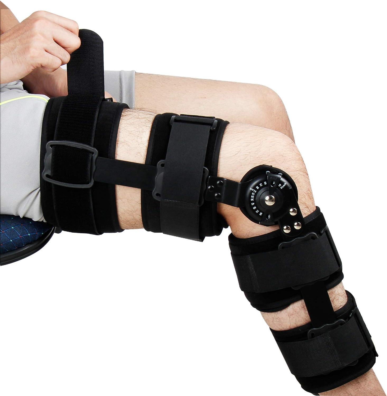 REAQER Ortesis de Rodilla Regulable con Bisagras Estabilización para la pierna para Lesionados Esguinces, Artritis, Desgarros del Menisco, Lesiones Ligamentosas Adapta Tanto Piernas