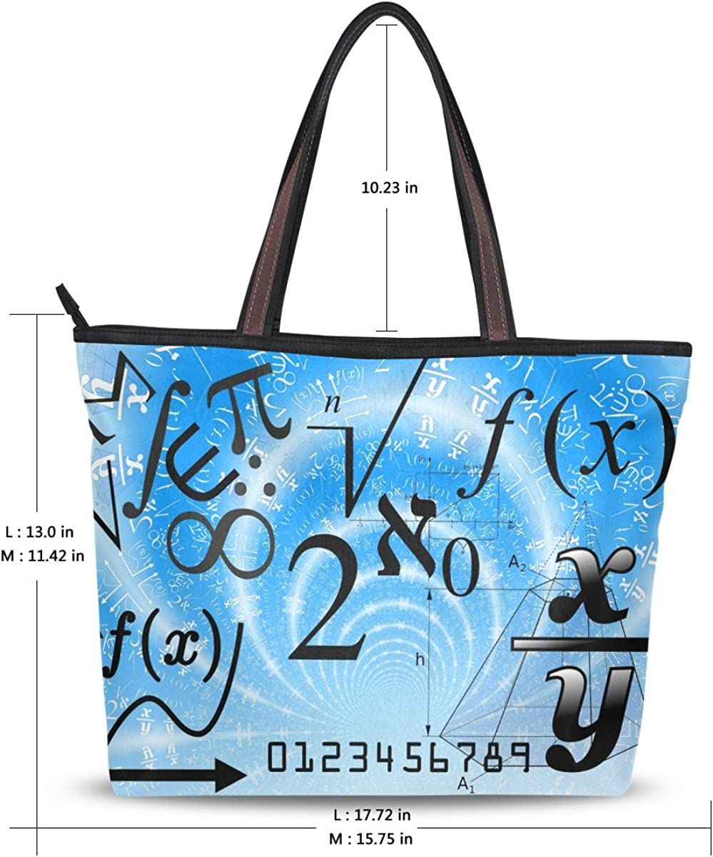 DEYYA Women Large Tote Bag Math Education Shoulder Handbags Satchel Messenger Bags for Ladies