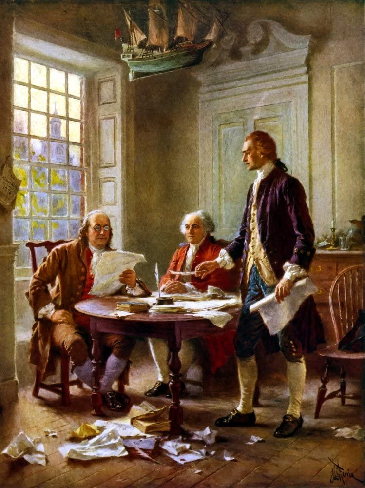 Posterazzi Digitally restored vector painting of Benjamin Franklin John Adams and Thomas Jefferson writing the Declaration of Independence. Poster Print, (8 x 10)