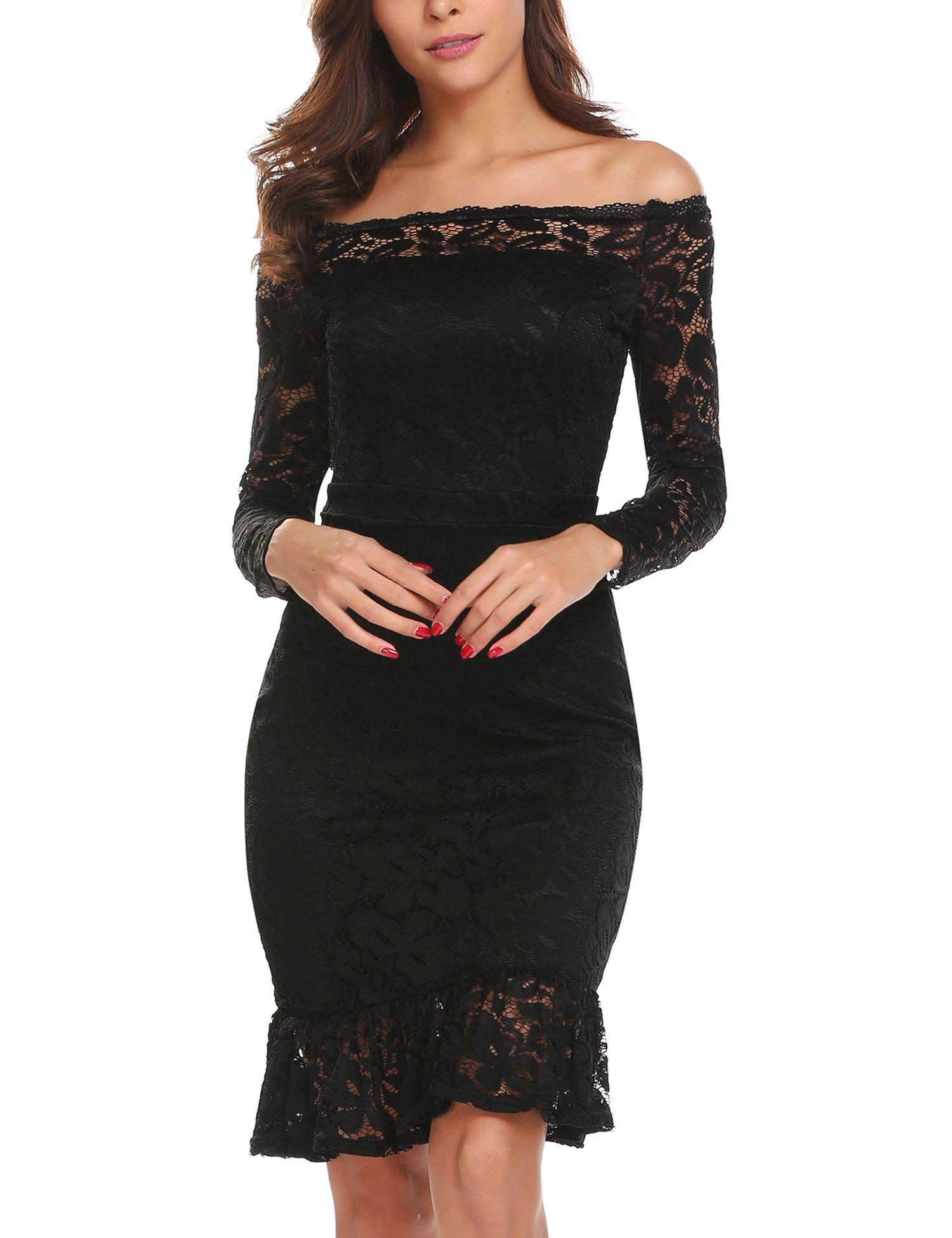 ANGVNS Women's Long Sleeve Full Flroal Lace Short Cocktail Dress Black M