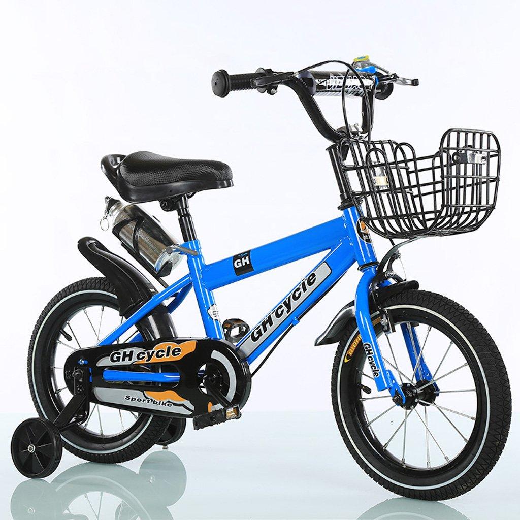 子供用自転車18インチ子供用自転車高炭素スチールベビーカー6-9歳男性と女性自転車、白/青/黄 (Color : Blue) B07CWNT2P8