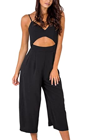 ebe5ac2ff1d Image Unavailable. Image not available for. Colour  Angashion Women s  Jumpsuits-V Neck Adjustable Spaghetti Strap Wide Leg Romper ...