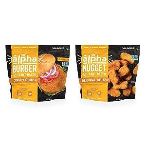 Alpha Foods Chik'n Nugget + Burger Variety Pack, 2-Flavors, 100% Plant Based (Pack of 8)