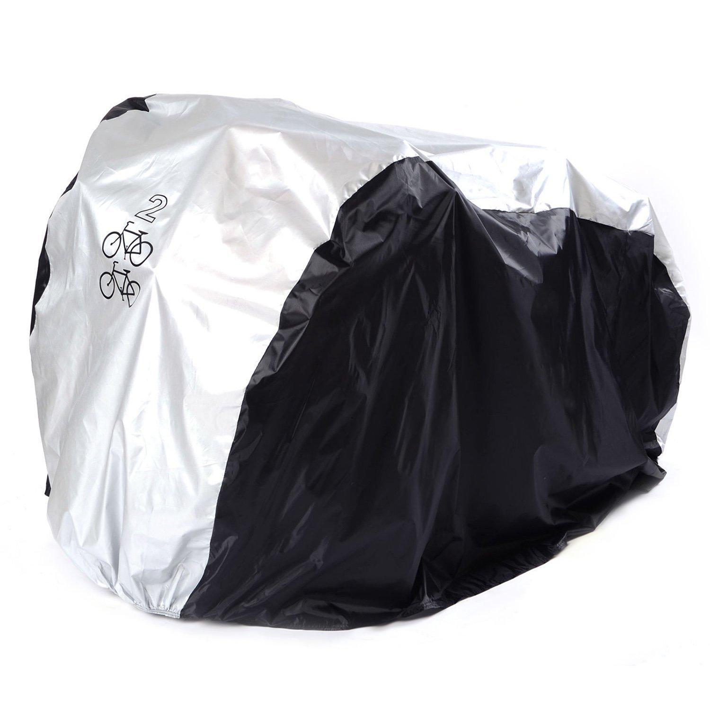 Impermeable doble 2 bicicleta patinete Lluvia Polvo Cubierta Protección de garaje (Plata + Negro)