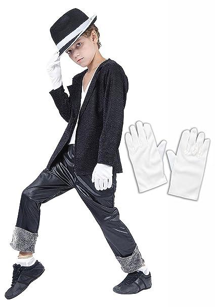 49657838a735e Amazon.com  Michael Jackson Black Fancy Dress Costume Hat   Gloves ...