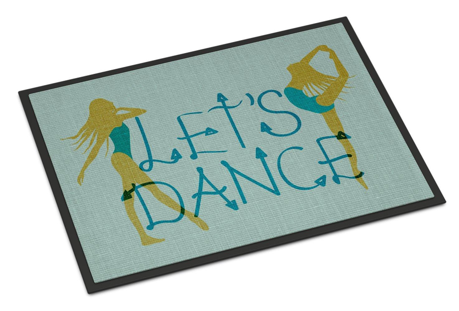 Caroline's Treasures Let's Dance Linen Teal Doormat, 24 H x 36 W'', Multicolor