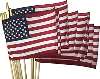 "product image for Sixty (60) 8x12 US Cotton Stick Flag American Flag on 24"" Dowel with Gold Tip Made in USA, Hemmed Edges"