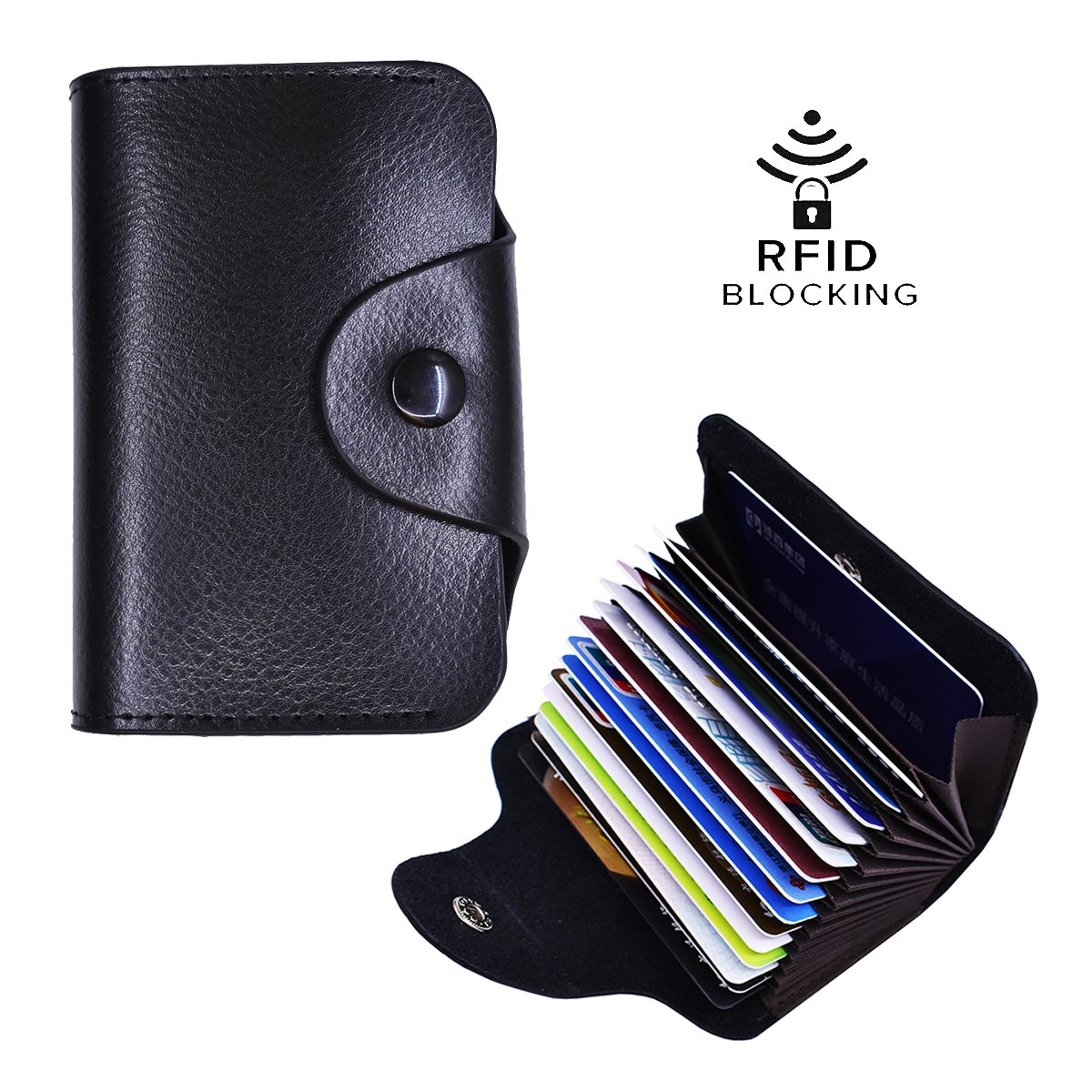 Women's Genuine Leather RFID Blocking Wallet Black Multi Card Organizer Small Purse Mini Business Card Case-6 Colors (Black)