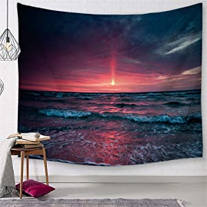 TSDA Great Wave Tapestry Hawaiian Beach Wall Hanging Sun Sunset Ocean Tapestry Decor for Living Room Bedroom Dorm (Large-79 x 59 In)