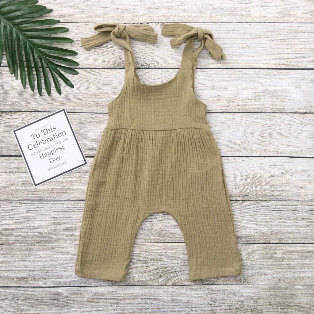 SSZZoo Summer Newborn Baby Boys Girls Romper Solid Overalls Strap Vest Jumpsuit Frill Onesies Bodysuit