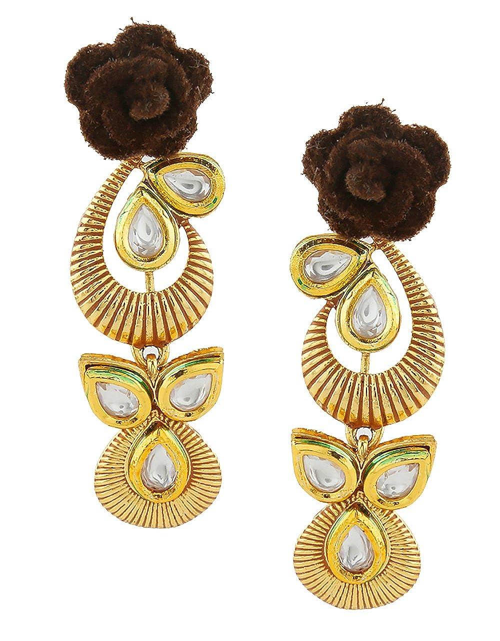 Anuradha Art Jewellery Brown Colour Flower Styled Wonderful Designer Traditional Earrings For Women//Girls