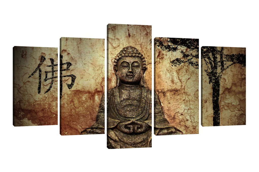 Framed 5 Panels Majestic Buddha Canvas Art Painting Prints on Canvas Artwork Wall Decoration for Bedroom, Living Room or Office (50''W x 28''H, Framed) by ZUGFEXY