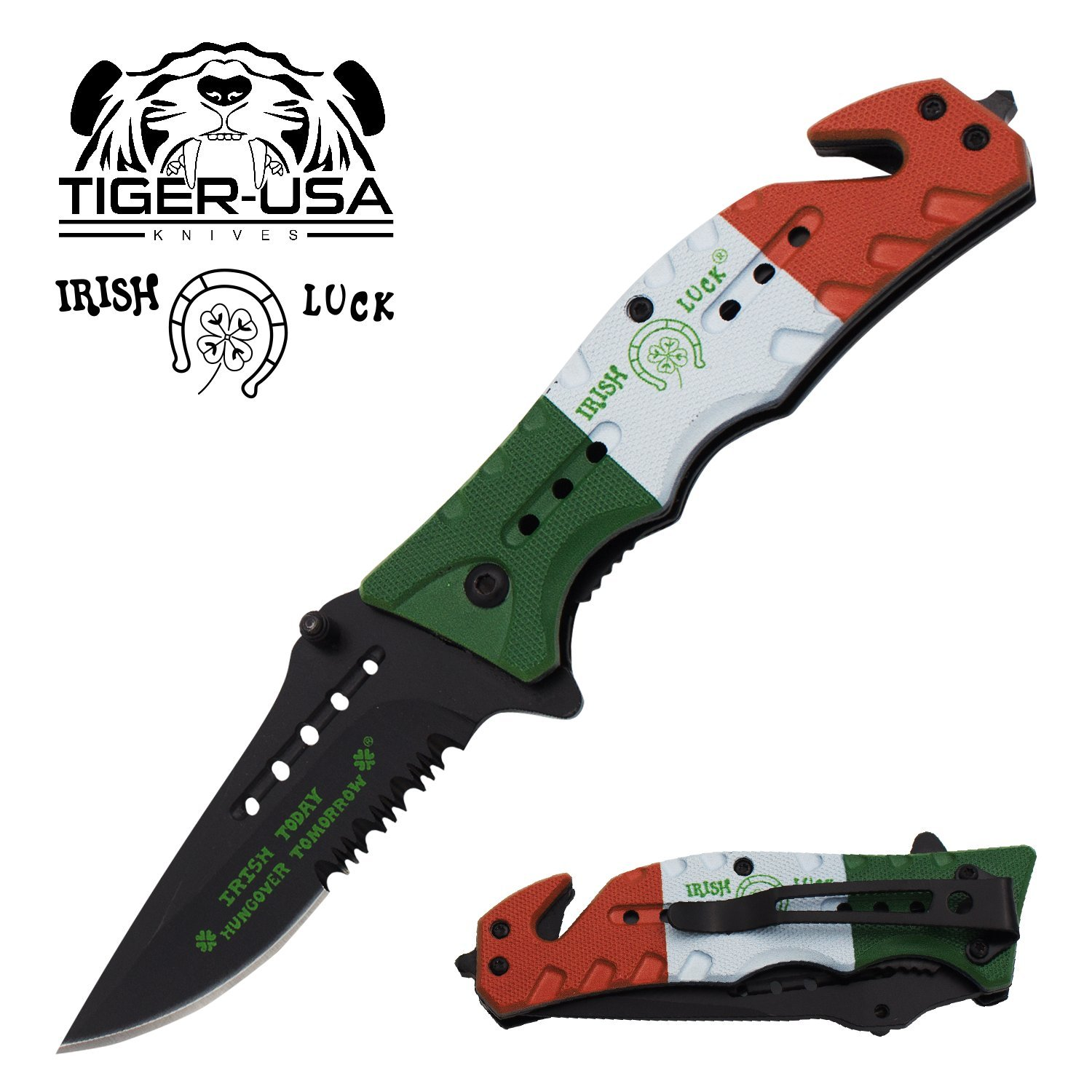 Irish Luck Four Leaf Clover Pocket Knife with lucky horseshoe – 8 inch Irish Flag Folding Knife Made by Tiger-USA