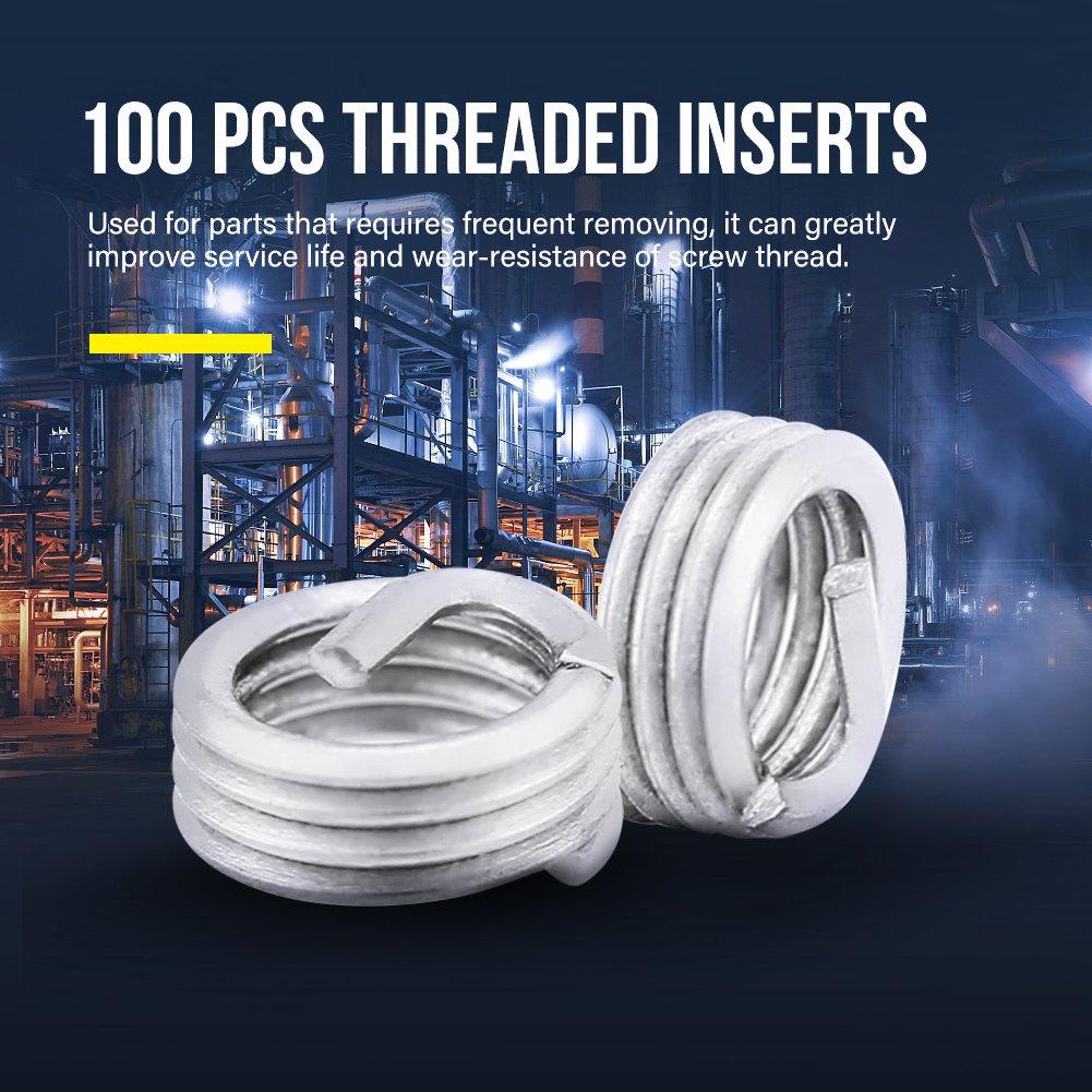 100 St/ück Gewindereparatur-Einsatz Spiralgewinde-Gewindeeins/ätze M3 x 0,5 x 1D L/änge