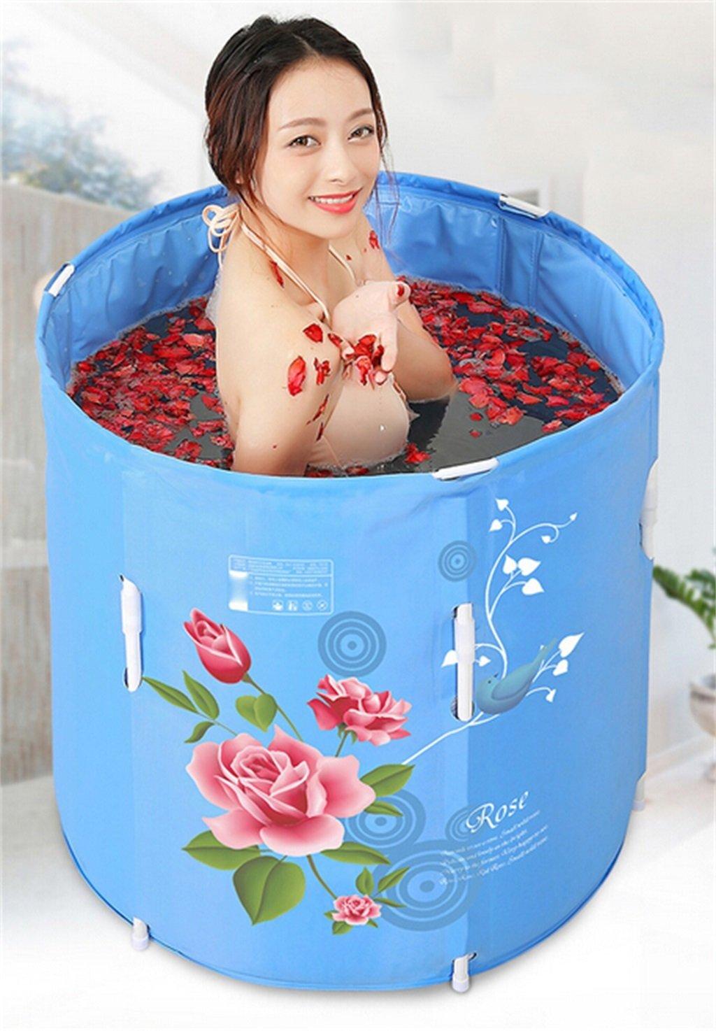 LQQGXL,Bath Bathtub Thickening Adult Bathtub Foldable Can Up And Down Child Take A Bath Bath Tub Plastic Bath Barrels Gift Four Seasons General Blue Rose Inflatable bathtub