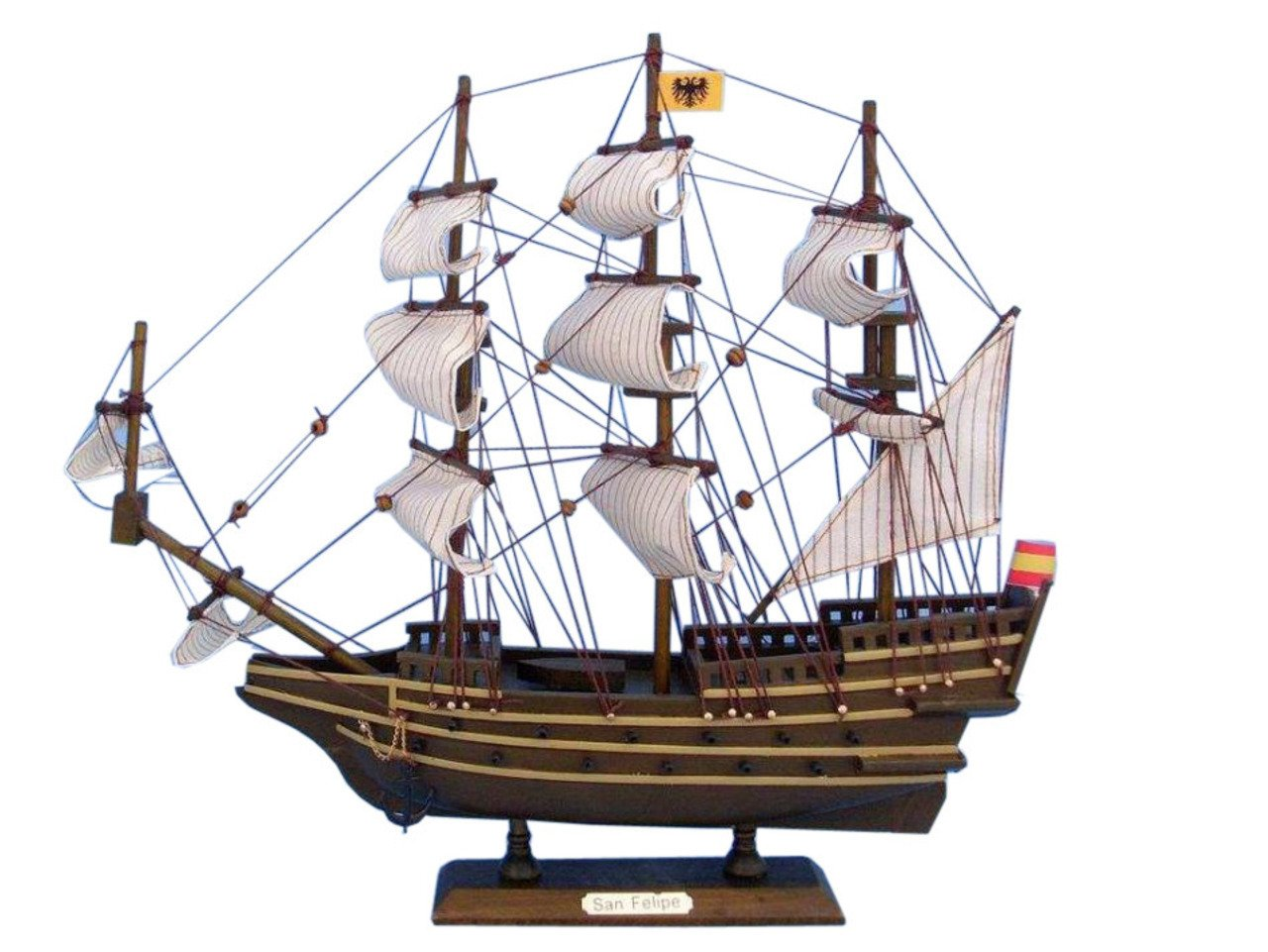 Hampton Nautical Wooden San Felipe Tall Model Ship, 14''