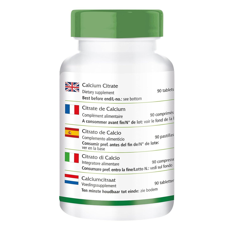 El citrato de calcio con calcio 300 mg - 1 mes - VEGAN - ALTA DOSIS - 90 comprimidos - sustancia pura sin aditivos: Amazon.es: Salud y cuidado personal