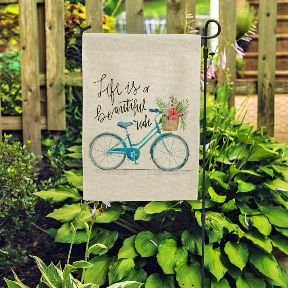 DOLOPL Garden Flag 12.5x18 Inch Double Sided Decorative Verticle Life is a Beautiful Ride Blue Bicycle with Flowers Seasonal Yard House Flag for Summer Outdoor Indoor Decoration