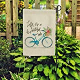 DOLOPL Garden Flag 12.5x18 Inch Double Sided Decorative Verticle Life is a Beautiful Ride Blue Bicycle with Flowers…