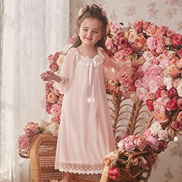 CXCX Camisón Pijama Infantil Niña Conjunto De Pijamas Camisones Ropa De Dormir Ropa De Noche Primavera Otoño Encaje Malla Lazo Princesa Algodón Modal Manga ...