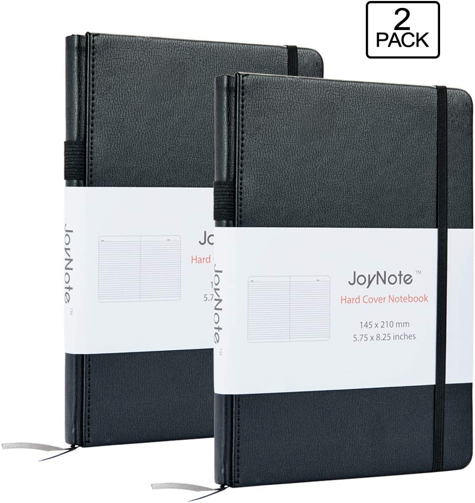 JoyNote A5 Ruled Notebooks with Pen Holder, 2 Pack Thick Classic Hardcover Writing Notebook and Journals with Pocket, 80 Sheets/160 Pages, 5.75 x 8.25 inches