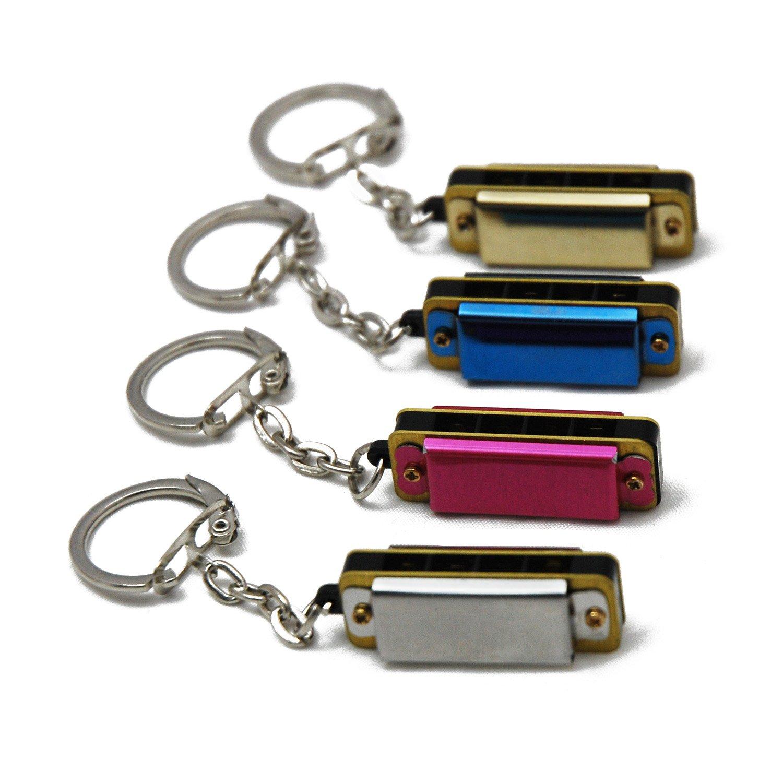 4 x Tuyama® Mini-Mundharmonika 4 Löcher, 8 Töne - mit Schlüsselanhänger - Mini Mouthharp Mouth Harp Mund Harmonika Minimundharmonika - 4 Stück - Farbe: Gemischt