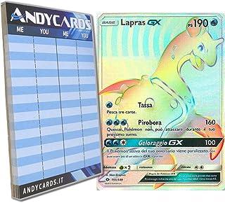 Lapras-GX 151/149 - Rara Arcobaleno Segreta - Sole e Luna SM01 in ITALIANO + Segnapunti Andycards Pokémon