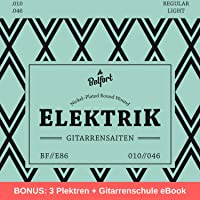 E-Gitarren-Saiten ★ Erstklassige Nickel-Saiten für E-Gitarre (6-Saiten-Set) | BONUS: Gratis Ebook + 3 Plektren