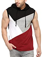 Gritstones Stylish Black/Maroon Cotton Hooded Solid Vest
