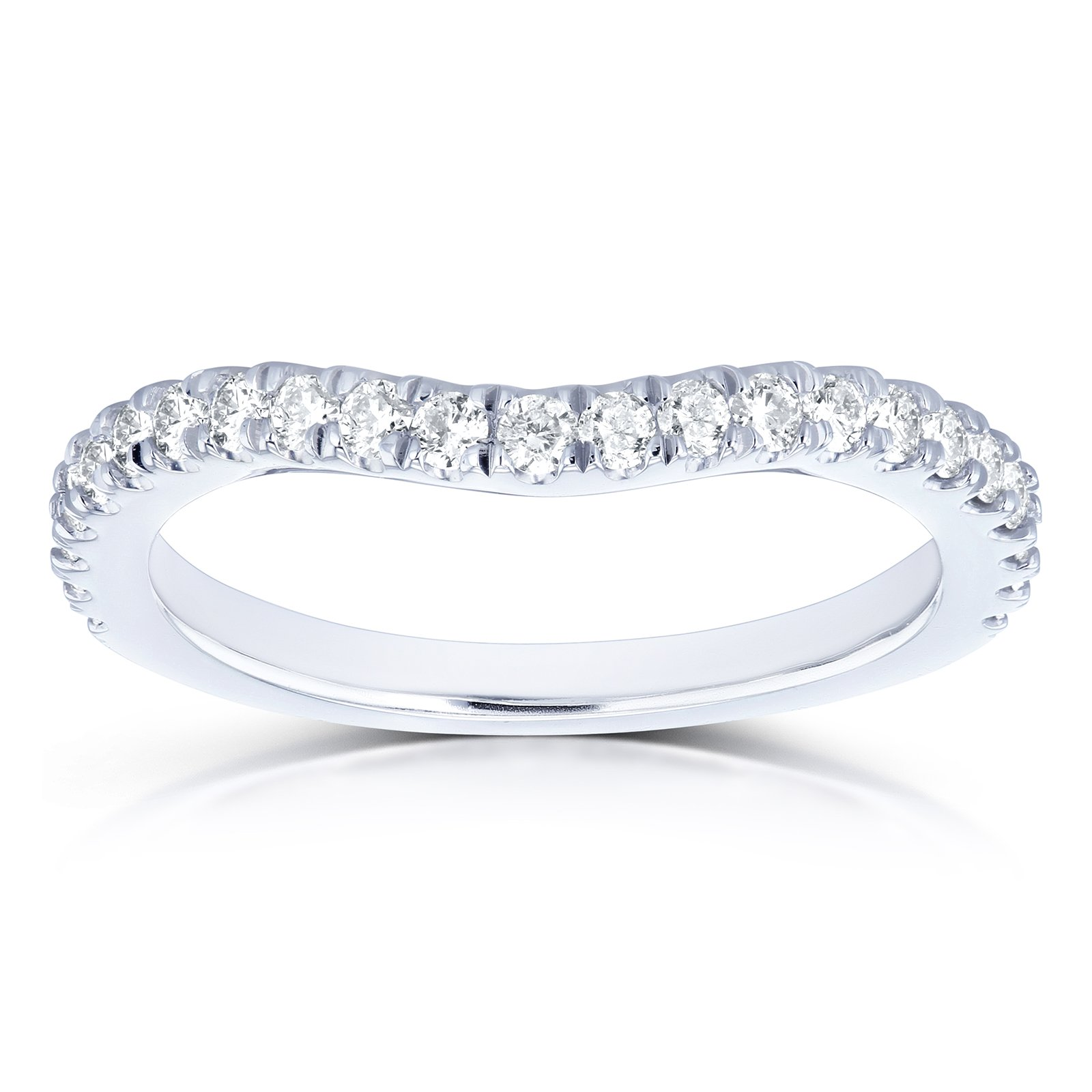 Diamond Curved Wedding Band 1/3 CTW in 14k White Gold, 7.5 by Kobelli