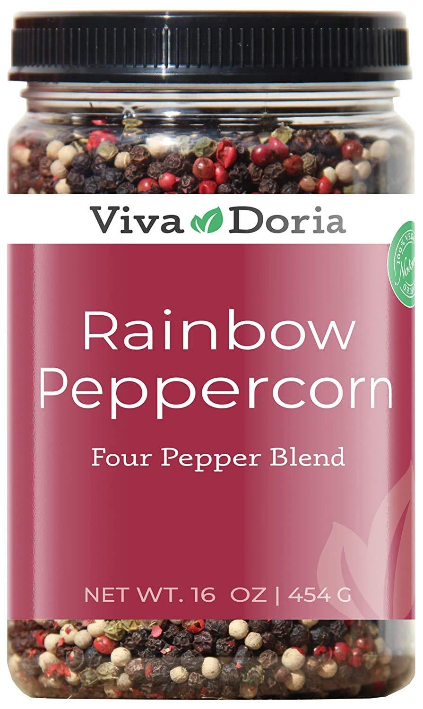 Viva Doria Rainbow Blend Peppercorn, Steam Sterilized Whole Black Pepper, Whole Green Pepper, Whole Pink Pepper, Whole White Pepper, 16 Oz, For Grinder Refill