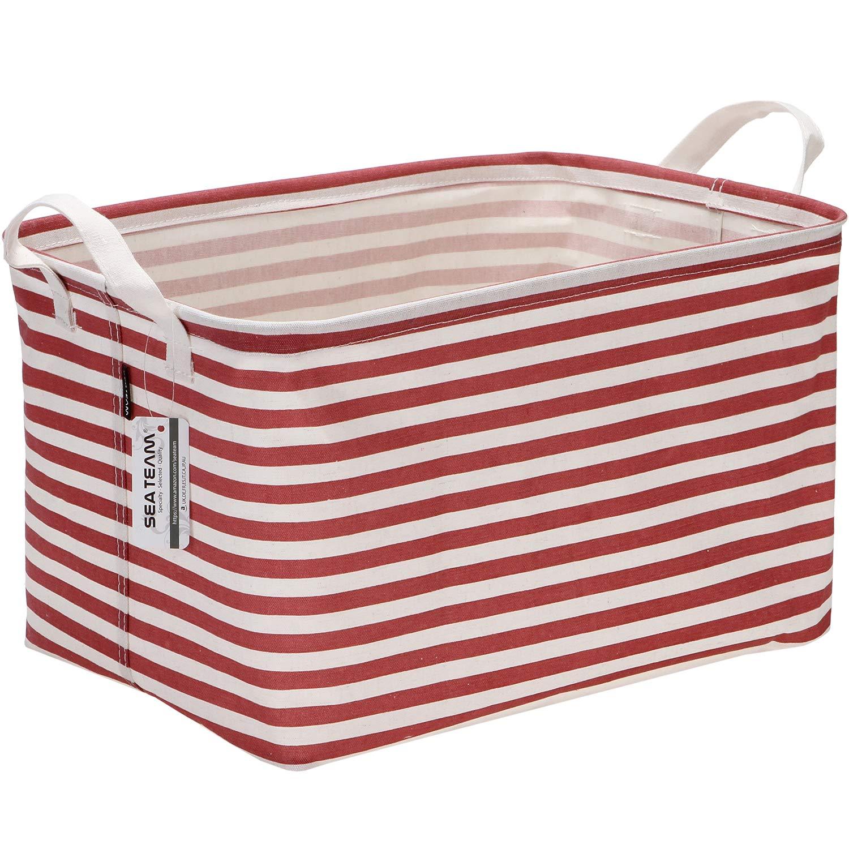 16.5 x 11 x 9.8 inches Green Stripe Sea Team Collapsible Rectangular Canvas Fabric Storage Bin Shelf Basket Organizer for Nursery /& Kids Room