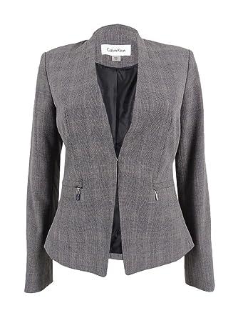 Calvin Klein Women S Petite Glen Plaid Zip Pocket Blazer 2p Grey