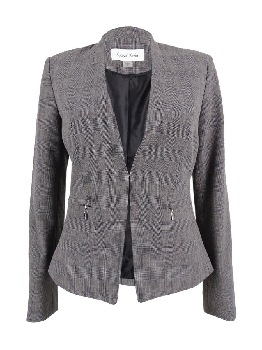 Calvin Klein Women's Petite Glen Plaid Zip-Pocket Blazer (2P, Grey)