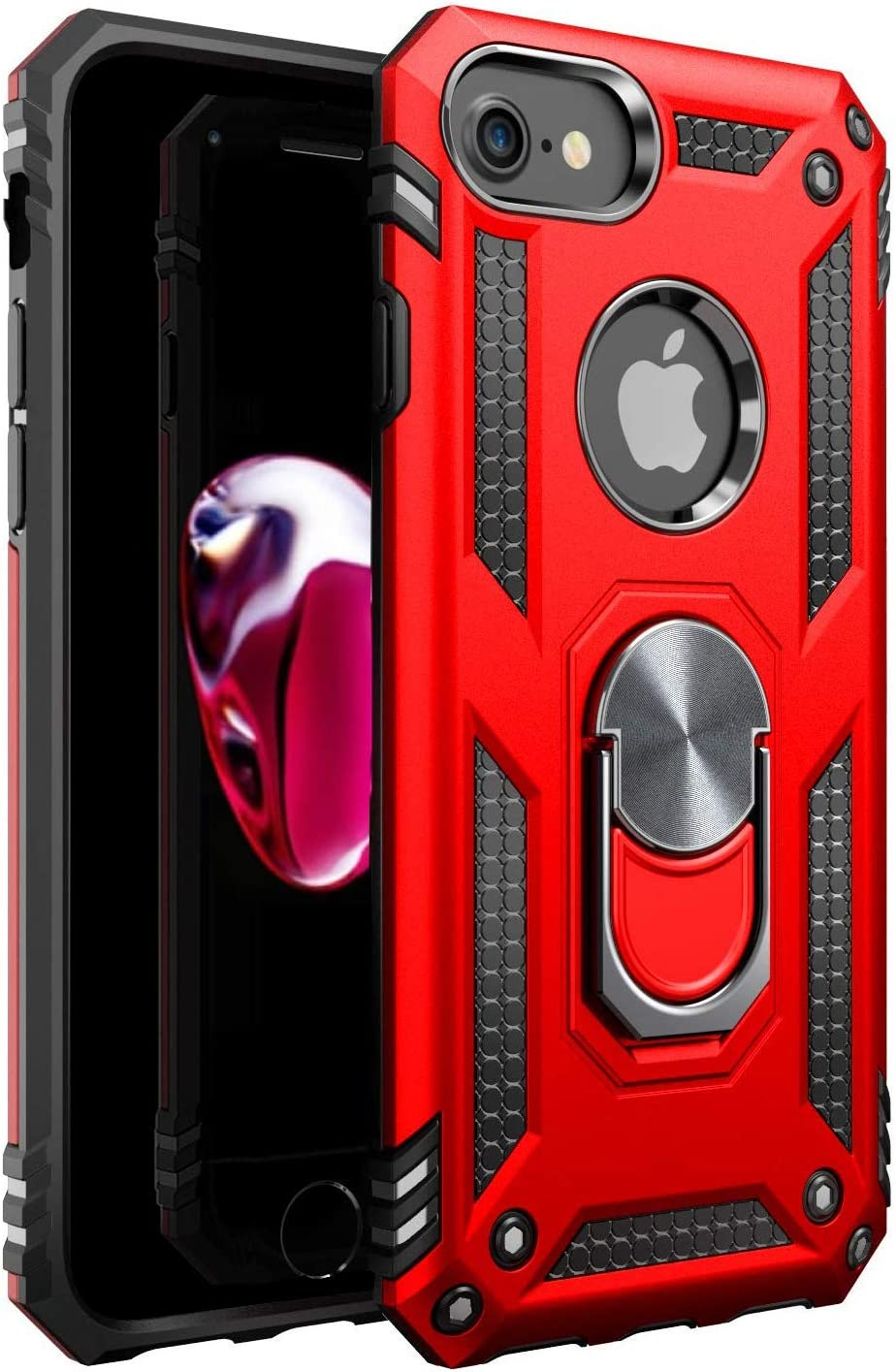 Amuoc iPhone 7 Case | iPhone 8 Case [ Military Grade ] 15ft. Drop Tested Protective Case | Kickstand | Compatible with Apple iPhone 8 / iPhone 7 - RED