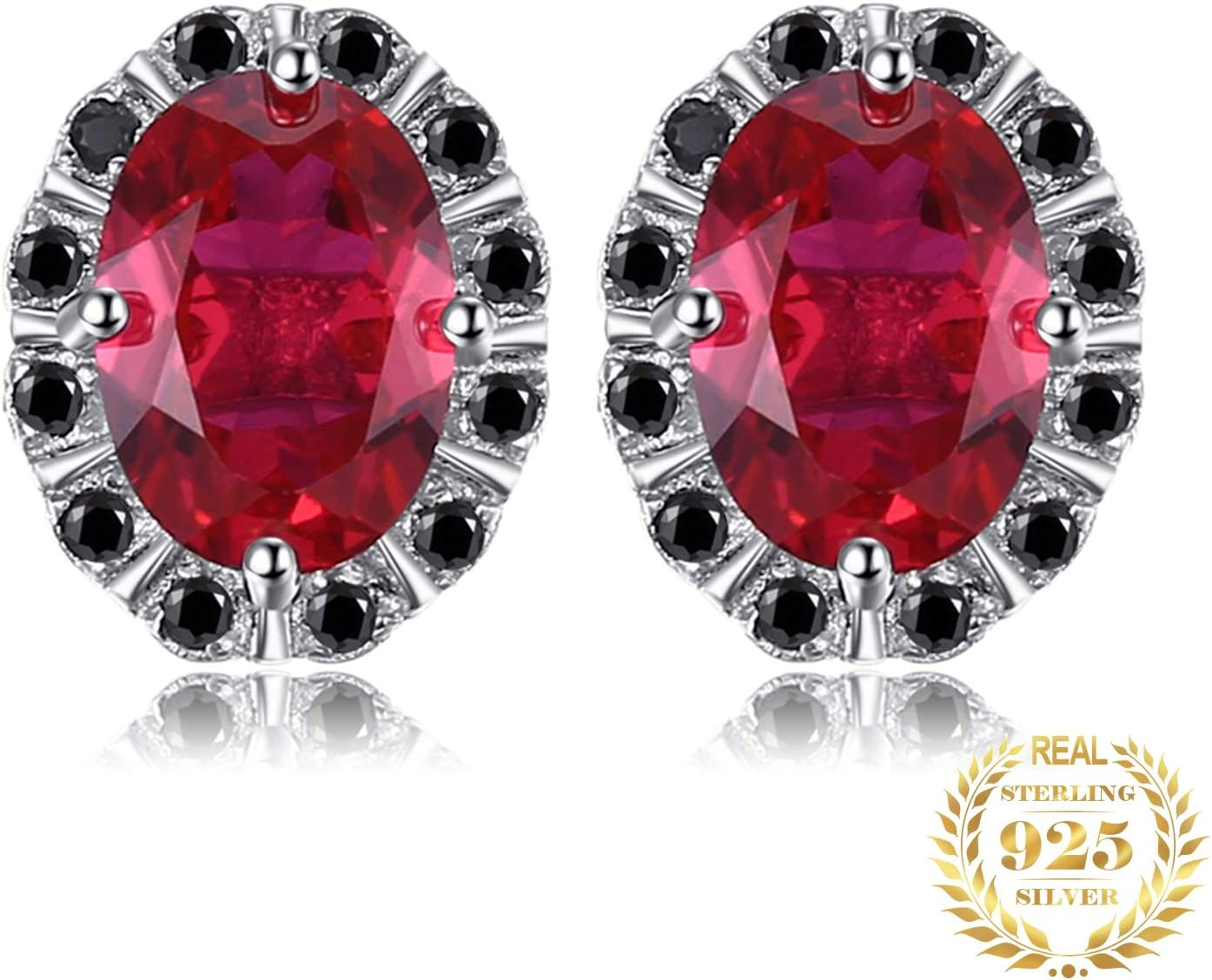 AdronQ Ruby Genuino Negro Espinilla Stud Pendientes 925 Pendientes de Plata Oval Gemstone Jewelry Fashion