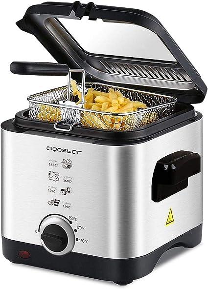 Aigostar Fries 30IZD - Freidora compacta de 1,5 litros, libre de BPA, 900 watios, tapa extraíble con gran ventana transparente y temperatura ...