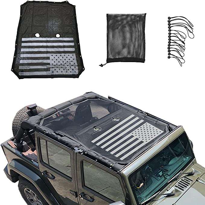 JeCar for Jeep JK Sunshade Mesh Top Mesh Top Sun Shade JK Front Sunshade UV Protection for 2007-2018 Jeep Wrangler JK 2Door and 4 Doors