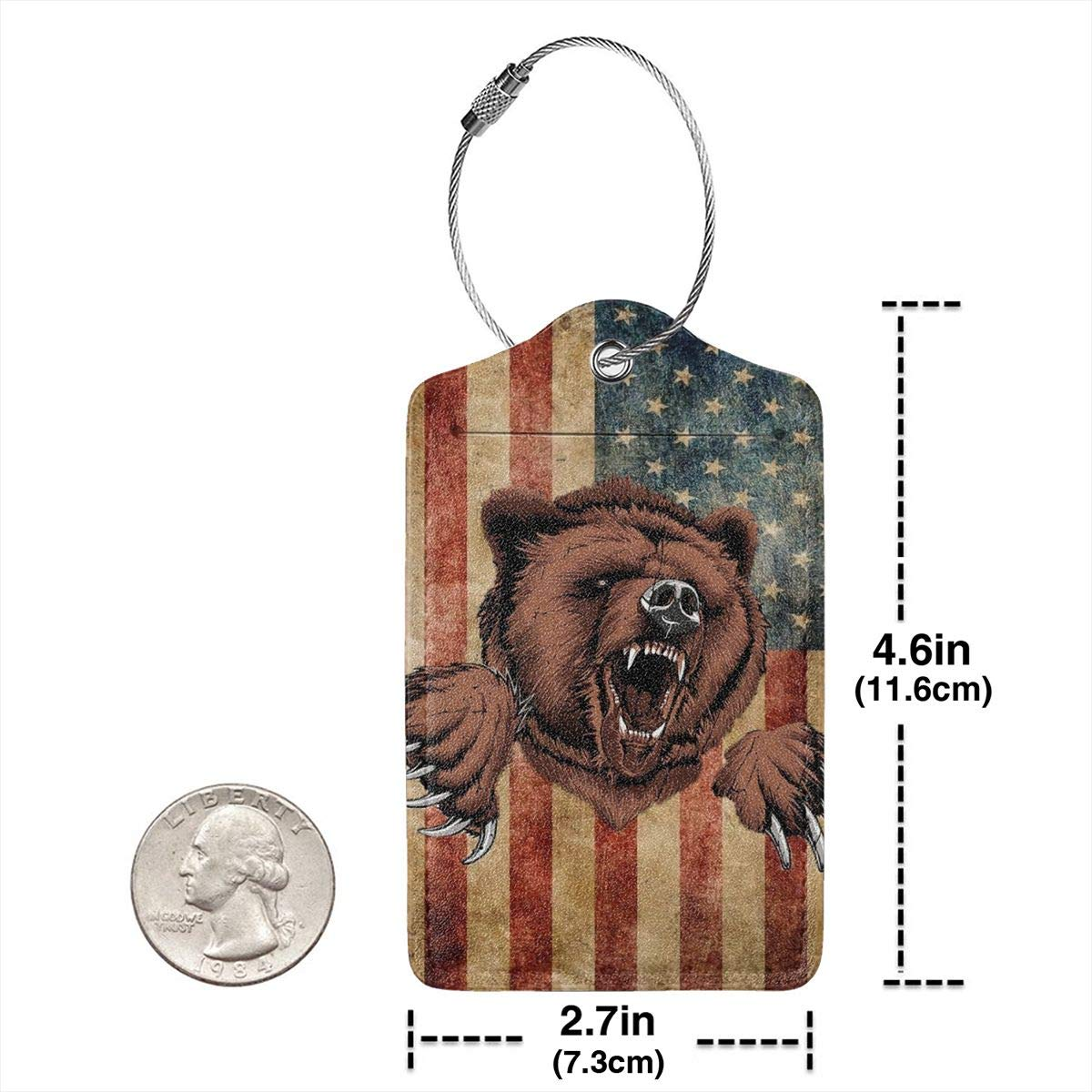 Godzigod Travel Luggage Tags PU Leather Bag Tags Suitcase Baggage Label Handbag Tag with Full Back Privacy Cover Steel Loops California Grizzly Bear American Flag