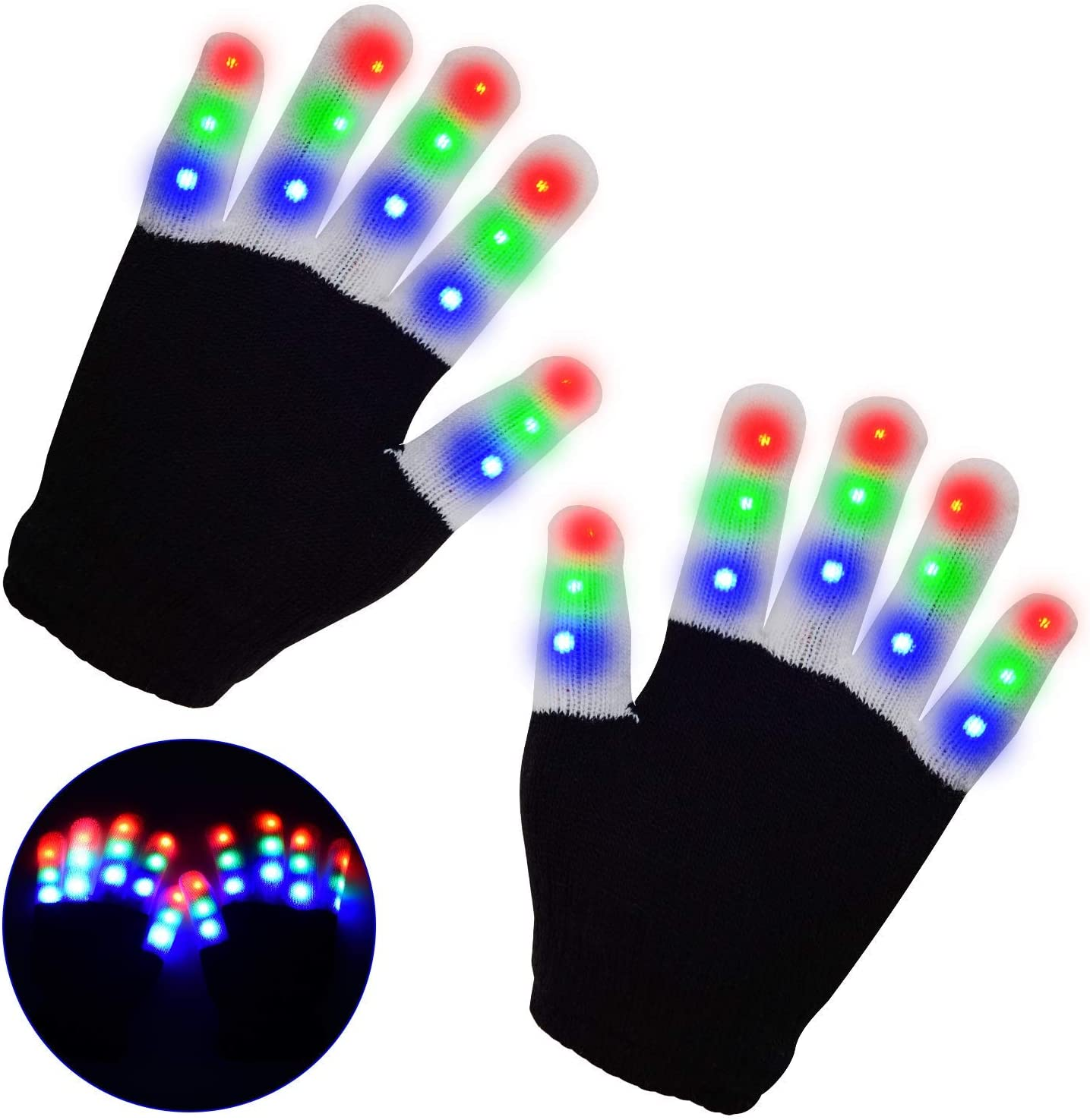Kids Games LED Gloves for Kids,Lighted Gloves with 3 Colors 6 Modes for Dance Costumes Light-up Party
