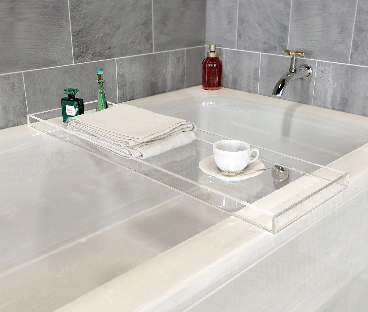 Amazon.com: ONELUX Durable Clear Acrylic Towel Tray,Lucite Bathtub ...