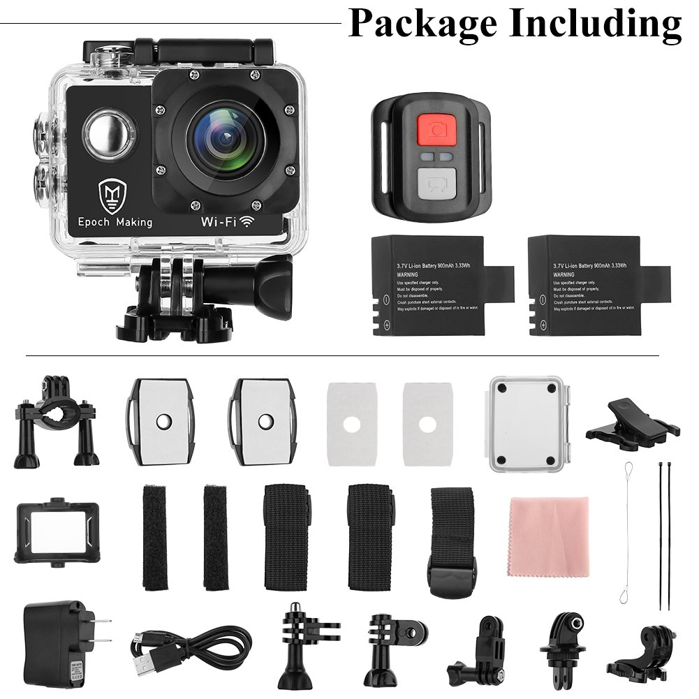 Epoch Making Action Camera, 4K Ultra HD WIFI Waterproof Sports Action Camera With 2-INCH LCD For Racing,Riding,Motorcycle,Surfing,Diving,Snorkeling,and More Water Sports by Epoch Making (Image #6)