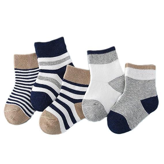 Vococal 5 pares Calcetines del bebés,Lindo Color del Caramelo Algodón Antideslizantes Calcetines para Bebés