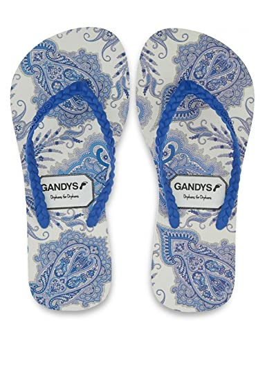 7c851eb0023396 Gandys Blue Lord Paisley Liberty Print Flip Flops UK7 8-40 41 Blue ...