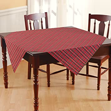 Plaid Tablecloth, Rectangle, Scottish Irish Tartan Stripes, Cotton Fabric,  Red Green Yellow